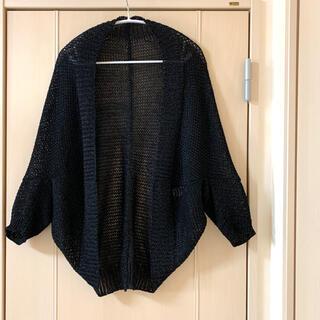デプレ(DES PRES)のDES PRES ドルマン カーディガン 羽織り 透かし編み 黒(カーディガン)