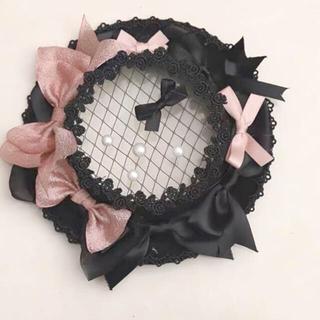 アンジェリックプリティー(Angelic Pretty)のリボン 黒ピンク レース帽子 ゴシックロリータ やみかわ  量産系 地雷系 原宿(ハット)