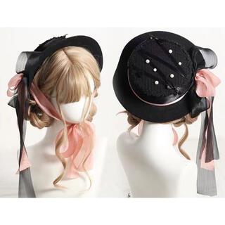 ベイビーザスターズシャインブライト(BABY,THE STARS SHINE BRIGHT)のレースリボン 黒ピンク帽子 ゴシック ロリータ やみかわ  ゆめかわ 量産系(ハット)