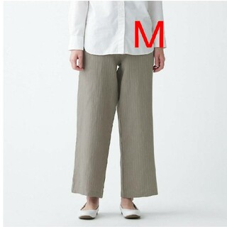 MUJI (無印良品) -  無印良品フレンチリネンストレートパンツ/グレィッシュブラウンストライプ/M