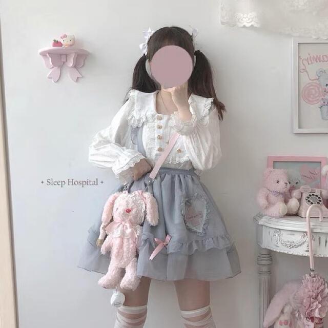 Angelic Pretty(アンジェリックプリティー)の病棟診察 サックス スカート  ロリータ やみかわ  量産系 地雷系 ゆめかわ レディースのスカート(ひざ丈スカート)の商品写真