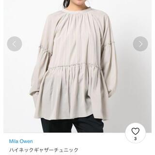 Mila Owen - 【新品未使用】ミラオーウェン ハイネックギャザーチュニック