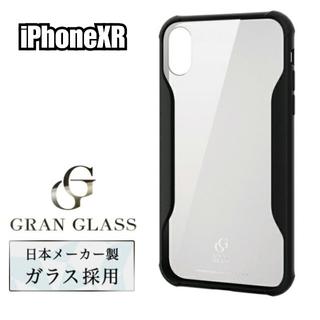 iPhoneXR ケース ガラスケース 耐衝撃 ハイブリッド ブラック☆透明