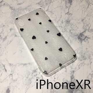 ドット柄 iPhone ケース カバー 透明 クリア ブラックハート XR