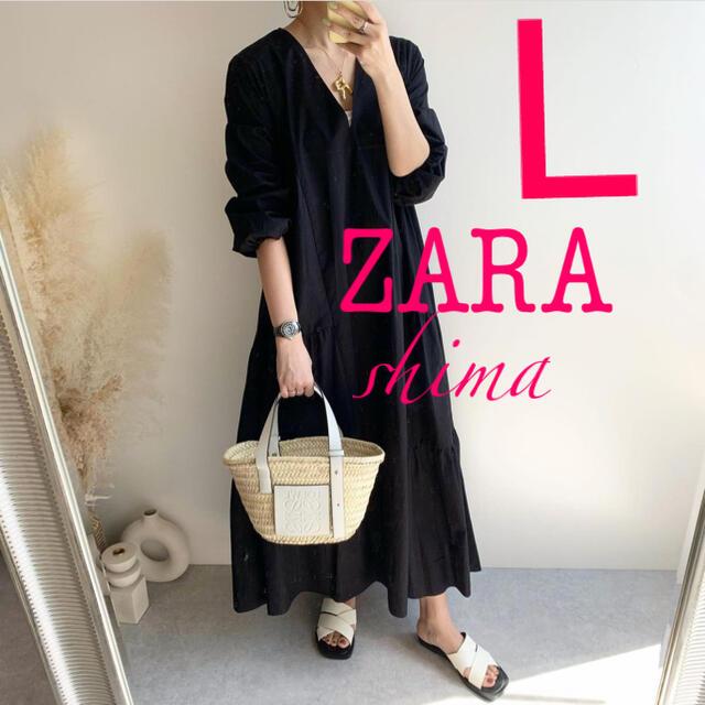 ZARA(ザラ)のZARA パフスリーブ付きポプリンワンピース Vネックワンピース レディースのワンピース(ロングワンピース/マキシワンピース)の商品写真