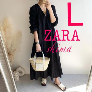 ZARA - ZARA パフスリーブ付きポプリンワンピース Vネックワンピース