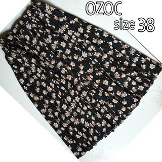 オゾック(OZOC)のOZOC オゾック  フレアスカートプリーツスカート ロング 花柄 黒 m 38(ロングスカート)