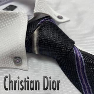 Christian Dior - クリスチャン・ディオール ネクタイ チェック柄 黒系 光沢 厚手