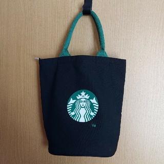 スターバックスコーヒー(Starbucks Coffee)の美品 スターバックスコーヒー トートバッグ (黒)(トートバッグ)