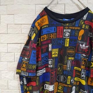 adidas - アディダス adidas 総柄 Tシャツ 刺繍ロゴ トレフォイル マルチカラーL