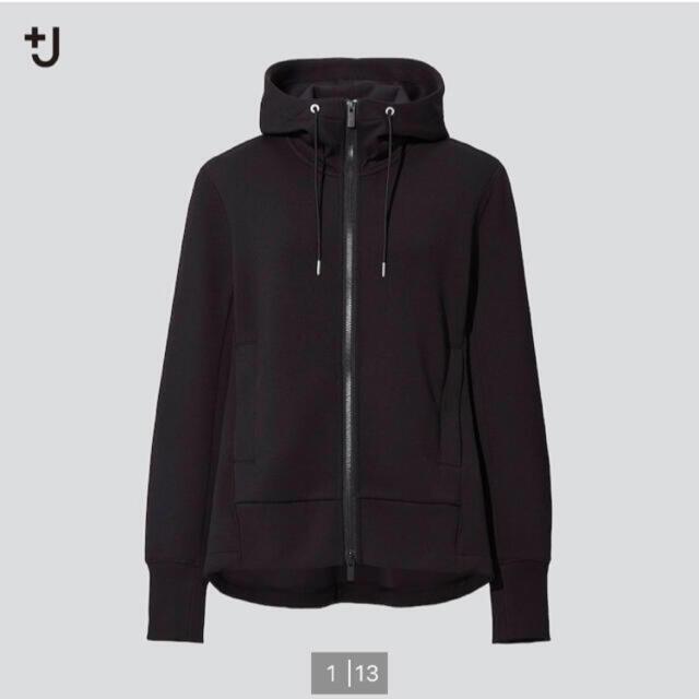 UNIQLO(ユニクロ)のユニクロ +J☆新品ドライスウェットフルジップパーカー☆L ブラック レディースのジャケット/アウター(その他)の商品写真