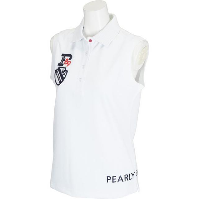 PEARLY GATES(パーリーゲイツ)のパーリーゲイツ ノースリーブ ポロシャツ レディース ホワイト スポーツ/アウトドアのゴルフ(ウエア)の商品写真