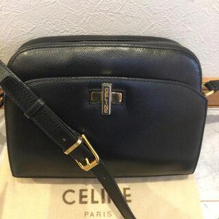 celine - セリーヌ  CELINE レザー ターンロック ロゴ ショルダーバッグ 美品