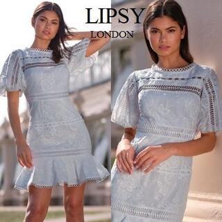 リプシー(Lipsy)のLipsy パフスリーブ レース スケータードレス(ミニドレス)