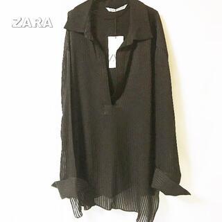 ZARA - 【ZARA】シースルストライプ セラットバンブー スキッパーシャツ タグ付未使用