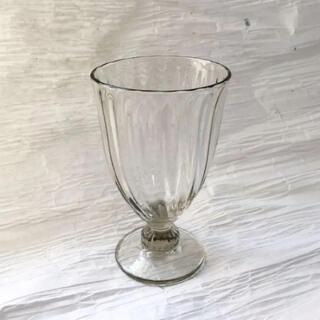 三浦侑子 グラス ガラス 1客 器 グレー スモーク モール  足付き ワイン