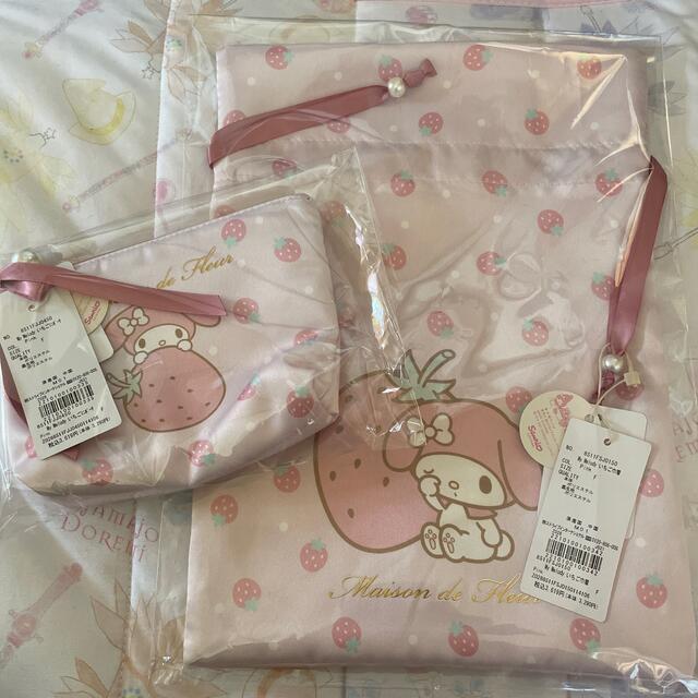 マイメロディ(マイメロディ)のマイメロ 巾着袋、ポーチ エンタメ/ホビーのおもちゃ/ぬいぐるみ(キャラクターグッズ)の商品写真