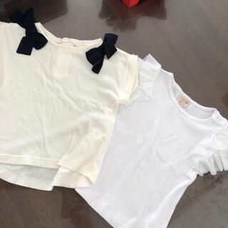 petit main - 肩リボンティシャツ  フリルトップス 80.90 セット
