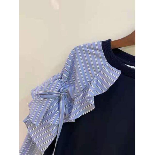 ENFOLD(エンフォルド)のENFOLD エンフォルド ストライプ スカラップ  継接ぎ サイズ M レディースのトップス(シャツ/ブラウス(長袖/七分))の商品写真