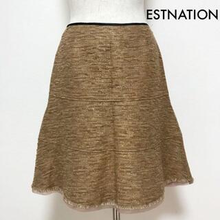 ESTNATION - エストネーション ESTNATION ラメ ツイード 裾シフォン フレアスカート