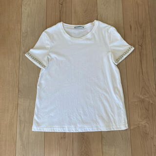 ZARA - 送料込◎新品◎zara ビジュー付きTシャツ s