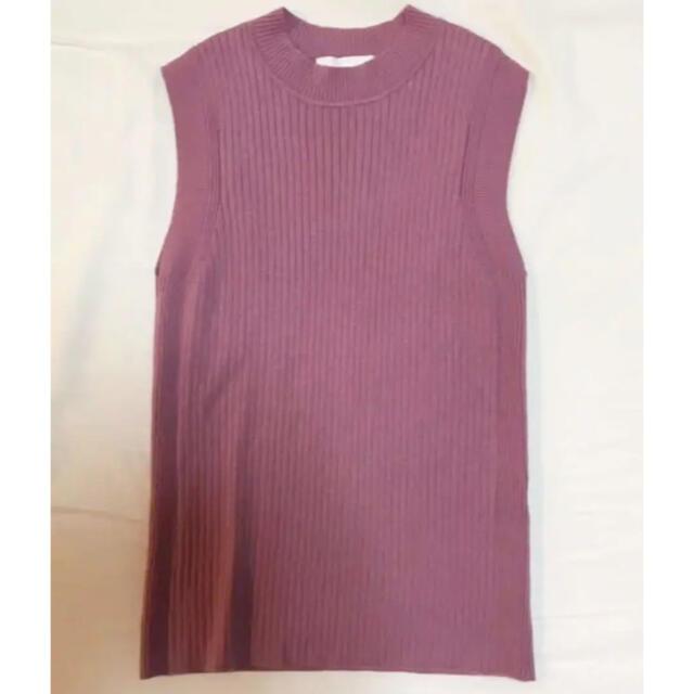 ANAYI(アナイ)のANAYI  くすみピンク ノースリーブニット レディースのトップス(カットソー(半袖/袖なし))の商品写真