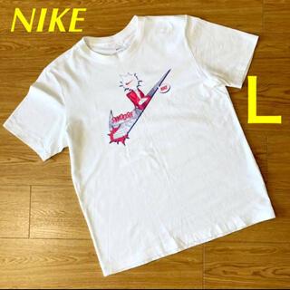 ナイキ(NIKE)の【美品】ナイキ NIKE スウォッシュ センターロゴ ホワイト コミックTシャツ(Tシャツ/カットソー(半袖/袖なし))