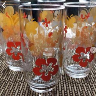 トウヨウササキガラス(東洋佐々木ガラス)の昭和レトロポップ  花柄 コップ 3個(グラス/カップ)
