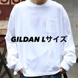 GILDAN - 新品 ギルダン 無地 長袖Tシャツ ロンT ポケット付き 白 ホワイト