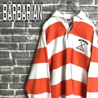 バーバリアン(Barbarian)のバーバリアン☆ラガーシャツ 古着ゆるだぼ 太ボーダー デカロゴ 刺繍ロゴ g6(ポロシャツ)