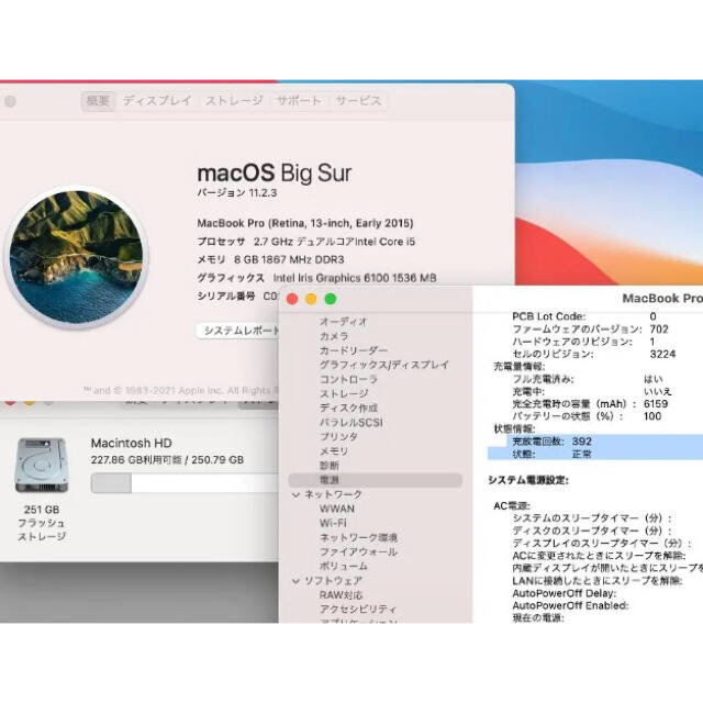 Mac (Apple)(マック)のMacBook Pro Retina, 13-inch, Early 2015 スマホ/家電/カメラのPC/タブレット(ノートPC)の商品写真