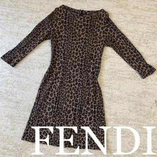 FENDI - FENDI フェンディ イタリア製  レオパード柄 豹柄 ワンピース 膝丈