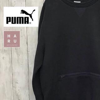 プーマ(PUMA)のプーマ Uネックトレーナー チャックポケット スリットファスナー ブラック(スウェット)