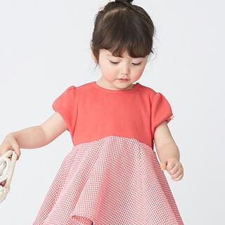 petit main - 完売 プティマイン 総柄ドッキング ペプラムTシャツ チュニック