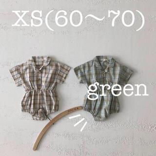 【新品:韓国子供服】(XS:green) ロンパース チェック リネン シャツ