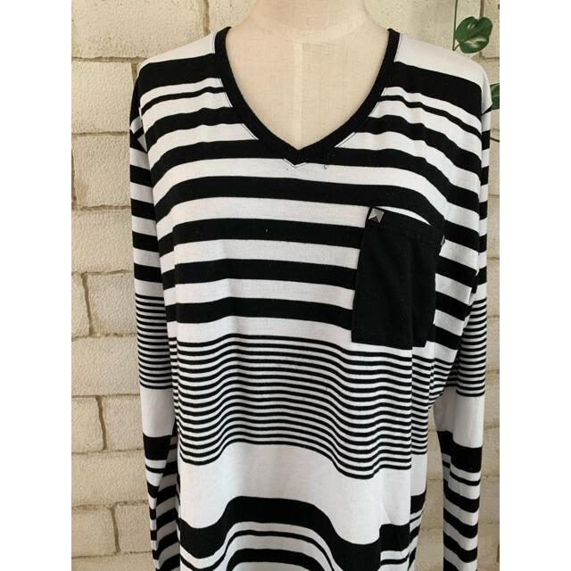 大きいサイズ☆マルチボーダーロングTシャツ チュニック レディースのトップス(Tシャツ(長袖/七分))の商品写真
