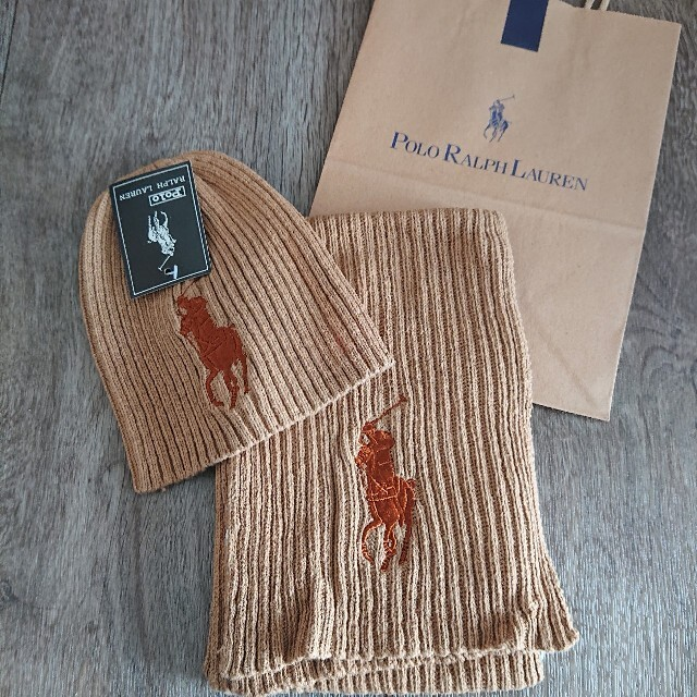 POLO RALPH LAUREN(ポロラルフローレン)のポロ・ラルフローレン Ralph Lauren ニット帽 マフラー セット レディースのファッション小物(マフラー/ショール)の商品写真