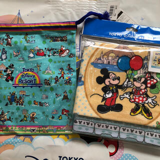 Disney - ディズニーリゾート レトロシリーズ巾着        ウォッシュタオルセット