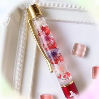 紫陽花とスターフラワーのハーバリウムボールペン(猫柄赤)* ドライフラワー(その他)