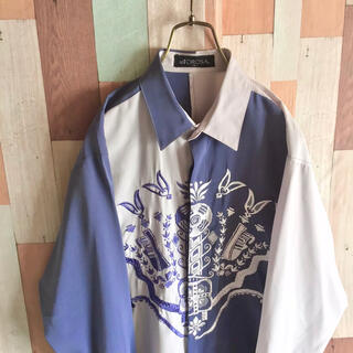 アートヴィンテージ(ART VINTAGE)のvintage ST.TOROSA 古着 90s 比翼シャツ 刺繍 切り替え配色(シャツ)