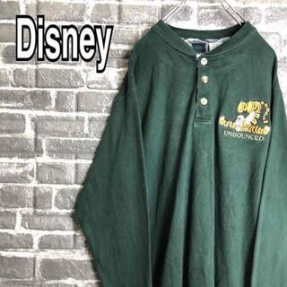 ディズニー(Disney)のディズニー☆ロンT グリーン ビッグロゴ ティガー キャラクター刺繍 b9(Tシャツ/カットソー(七分/長袖))