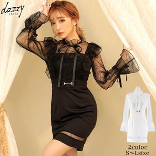 dazzy store - リボン付き チュール袖 タイト ミニ ドレス