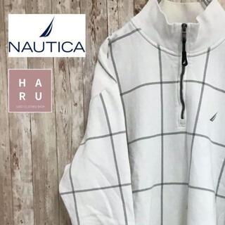 ノーティカ(NAUTICA)のノーティカ 胸元ワンポイントロゴ ハーフジップトレーナー ホワイト(スウェット)