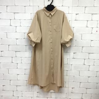 パフ袖❤️サラテロ素材のシャツワンピース ベージュ