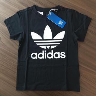 adidas - 120㎝ 黒 アディダス トレフォイルTシャツ 定番 (訳あり)