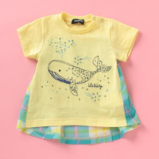 kladskap - 60%オフ以下!吸水速乾 バックチェック切り替えクジラさんTシャツ 80㎝