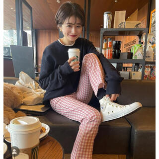 (OUTLET) pink gingham check pants♡