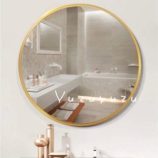 【アウトレット】ラウンドミラー ゴールド 円形 丸型 洗面台 化粧ミラー 鏡