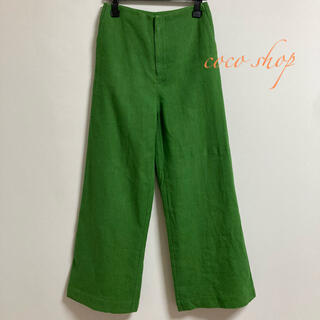 ZARA - グラマラスガーデン ワイドパンツ 麻100% グリーンカラー Sサイズ 韓国商品