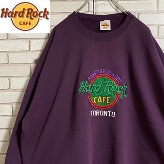 90s 古着 ハードロックカフェ USA製 スウェット 刺繍 ゆるだぼ
